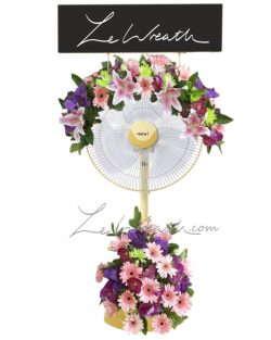 พวงหรีดพัดลม ดอกไม้โทนสีม่วง-ชมพู