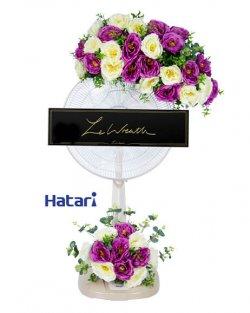 แบบพวงหรีดพัดลมดอกไม้ประดิษฐ์ บริการส่งฟรี l LeWreath™