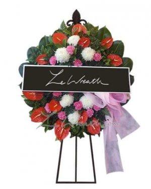 พวงหรีดดอกไม้สด ราคาไม่เกิน 1,500 บาท LW001 – อัมพร 1