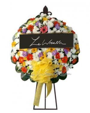 พวงหรีดดอกไม้สด ราคาไม่เกิน 1,500 บาท LW009 – อัมพร 9